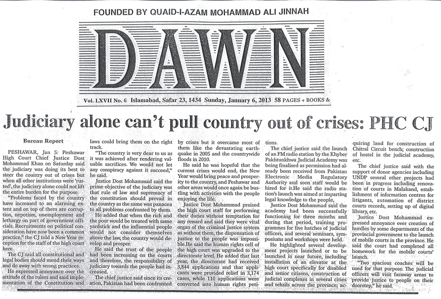News Clipping in Daily Dawn, Islamabad on Jan 6, 2013