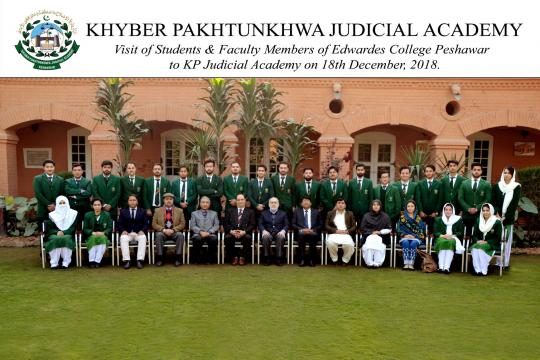 Students & Faculty from Edwardes College Peshawar visit to KP Judicial Academy on December 18, 2018