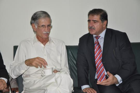 Chief Minister Khyber Pakhtunkhwa Mr. Parvez Khattak sharing views with DG KPJA Mr.Hayat Ali Shah